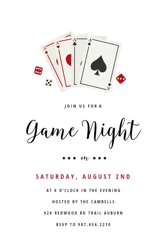 Family Party Games >> Poker Game Night - sports & games Invitation Template ...