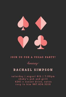Girly Vegas - sports & games Invitation Template