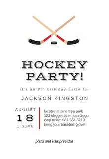 Hockey Birthday - sports & games Invitation