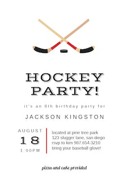 Hockey Birthday - Birthday Invitation