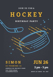 Hockey stars - Birthday Invitation