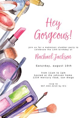 Make Up Party - Sleepover Party Invitation