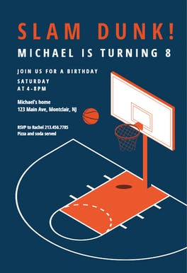 Modern Basketball - Birthday Invitation