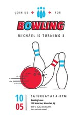 Modern Bowling - sports & games Invitation