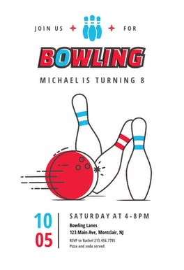 Modern Bowling - Birthday Invitation