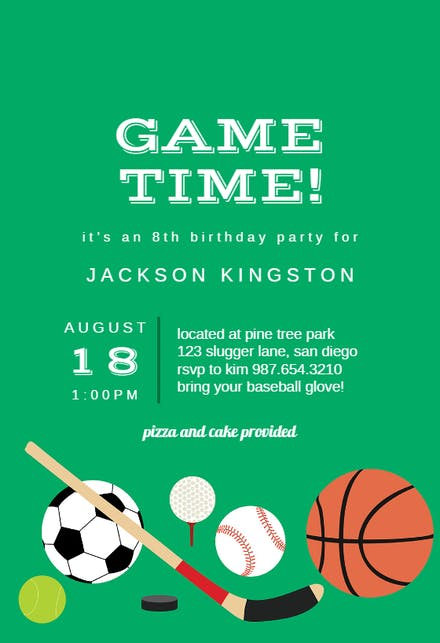 Sports Amp Games Invitation Templates Free Greetings Island