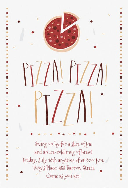Pizza Party Invitation Template Free