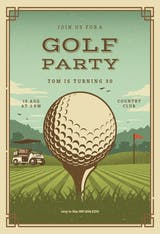 Retro golf - sports & games Invitation