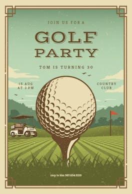 Retro golf - sports & games Invitation