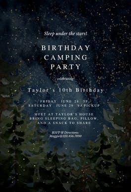 Rustic forest camping - invitation