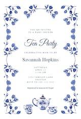 Vintage floral tea - Party Invitation
