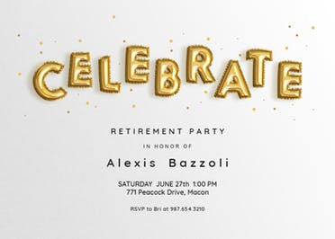 celebration balloons free retirement farewell party invitation