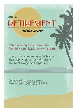 its a retirement celebration retirement farewell party invitation