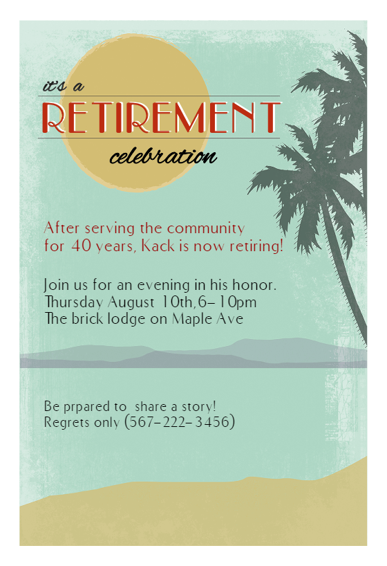 Its A Retirement Celebration   Retirement U0026 Farewell Party Invitation  Template