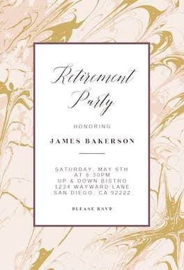 Marble - Retirement & Farewell Party Invitation