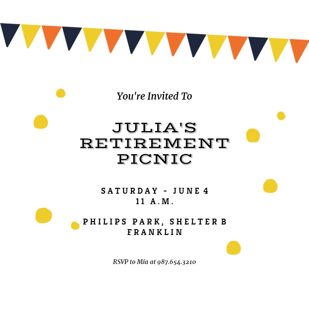 Picnic Party - Retirement & Farewell Party Invitation ...