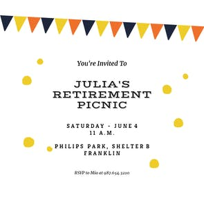 Picnic Party - Retirement & Farewell Party Invitation