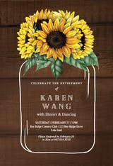Sunflowers filled jar - Retirement & Farewell Party Invitation