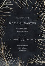 Tropical gold palms - Retirement & Farewell Party Invitation