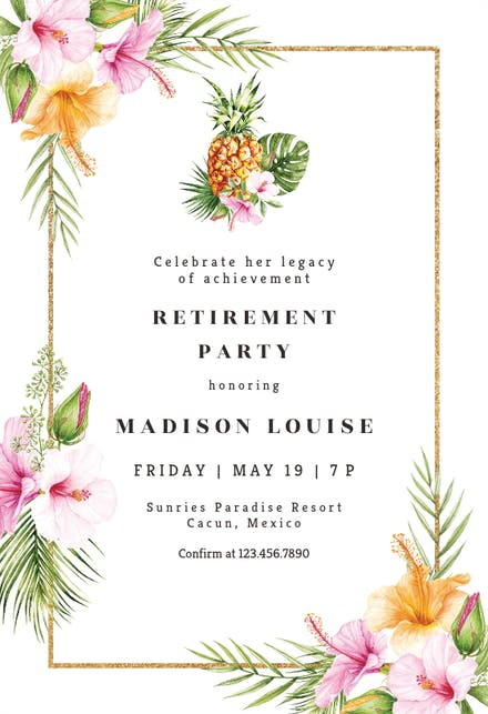 Tropical Pineapple Invitación Para Jubilación Gratis