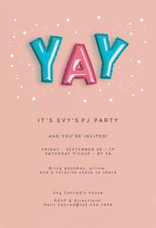 Balloons-z-z-z-z-z - Sleepover Party Invitation