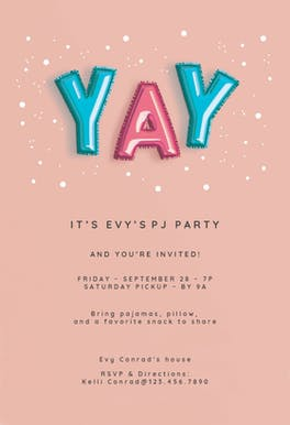 Balloons-z-z-z-z-z - Sleepover Party Invitation