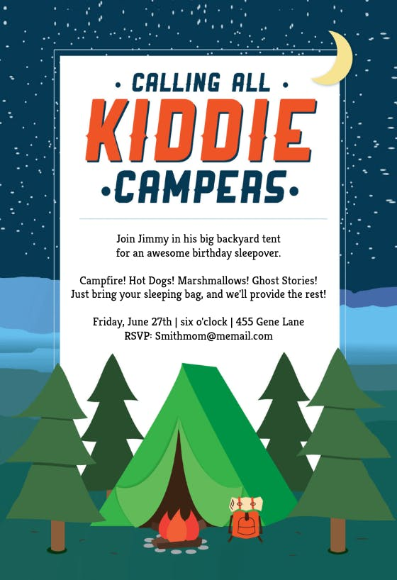 Camping Tent Printable Party Invitation Template Free