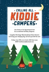 Kiddie Camping - Sleepover Party Invitation