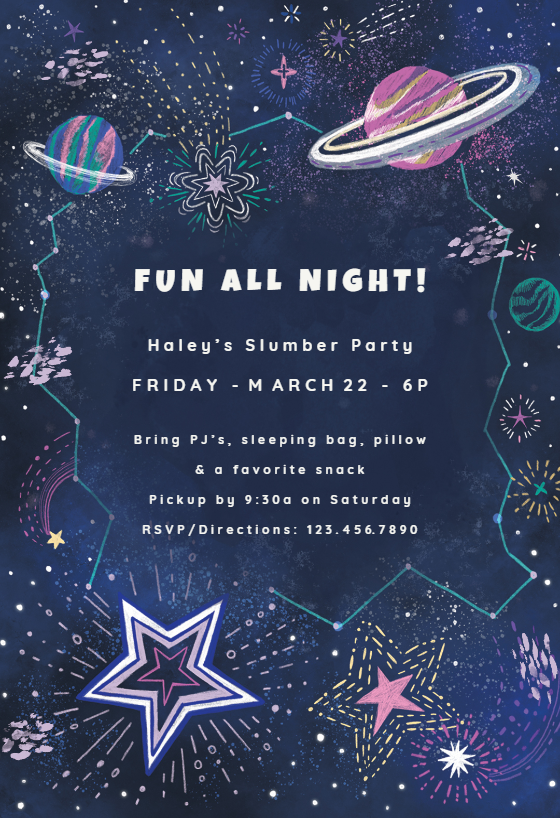 Outer Space Sleepover Party Invitation Template Free