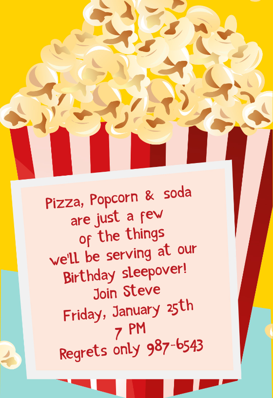 picture regarding Movie Night Invitations Free Printable referred to as Online video Night time Invitation Template (Totally free) Greetings Island