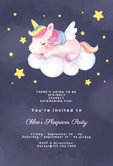 Unicorn Fun - Sleepover Party Invitation