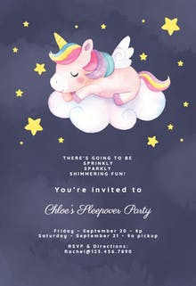 Unicorn Fun - Invitación Para Pijamadas