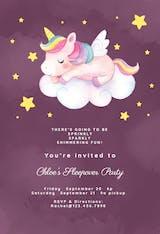 Unicorn Fun - Sleepover Party Invitation