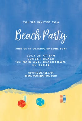 Beach chillout - invitation