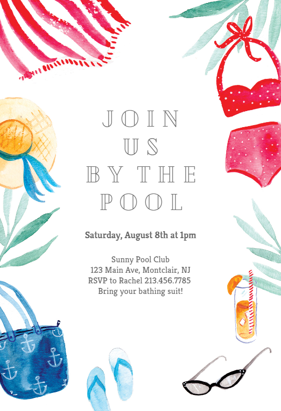 By The Pool Pool Party Invitation Template Free