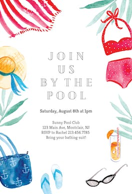 By the pool - Pool Party Invitation