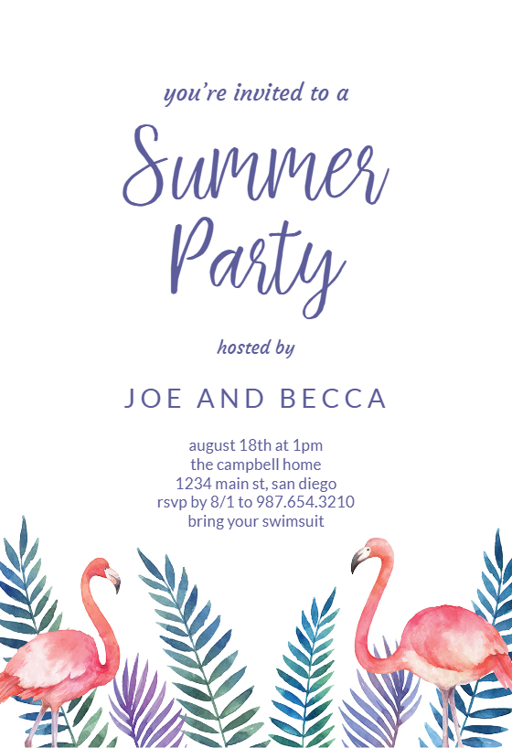Flamingo Amp Palms Pool Party Invitation Template Free
