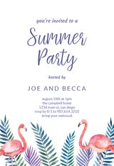 Flamingo & Palms - Pool Party Invitation