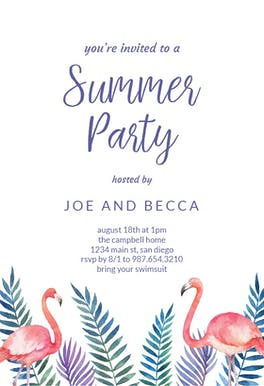 Flamingo & Palms - Printable Party Invitation
