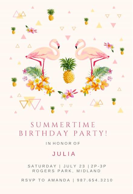 Flamingo Party Invitación De Cumpleaños Greetings Island