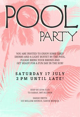 Fun in The Sun - Invitación Para Pool Party