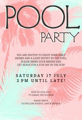Fun in The Sun - Pool Party Invitation