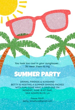 Looking Cool - Invitación Para Pool Party