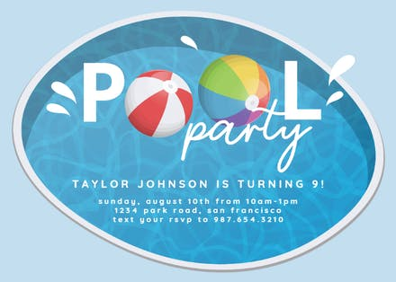 Invitaciones Para Pool Party Gratis Greetings Island