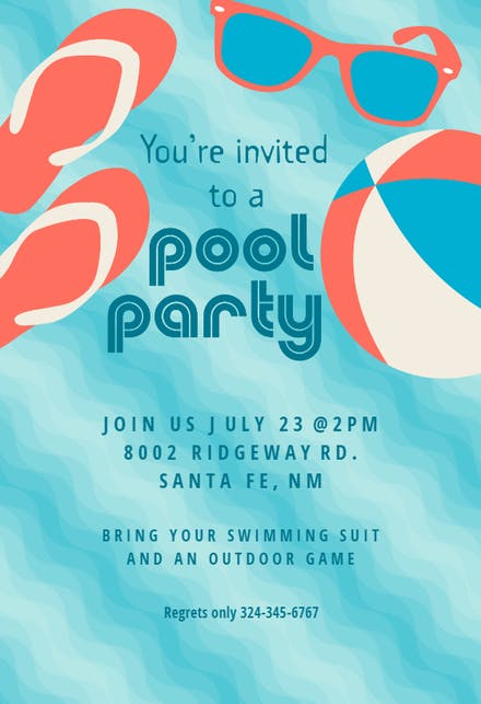 92 Birthday Invitation Card Pool Party
