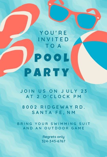 Pool Party Invite Template Free from images.greetingsisland.com
