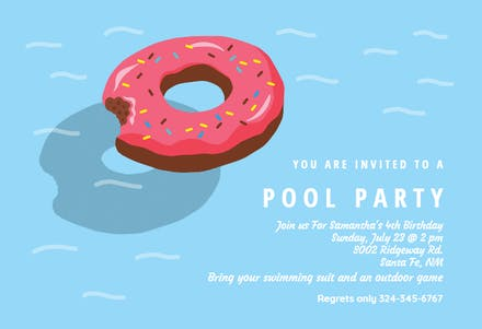 Donut inflatable - Pool Party Invitation