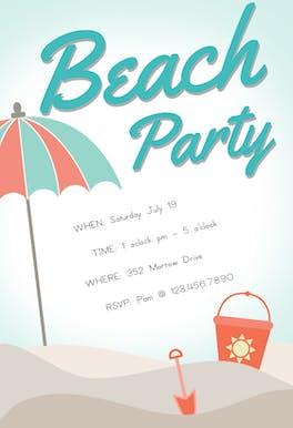Sandcastle - Pool Party Invitation