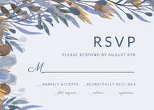 Blue and mustard florals - RSVP card