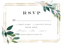 Double frame & leaves - RSVP card
